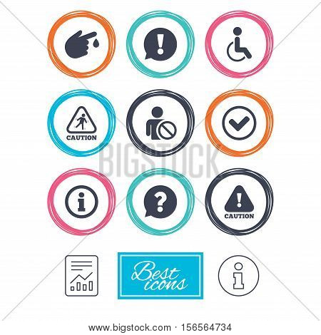Caution and attention icons. Question mark and information signs. Injury and disabled person symbols. Report document, information icons. Vector