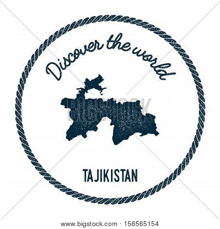 Vintage Discover The World Rubber Stamp With Tajikistan Map. Hipster Style Nautical Postage Stamp, W