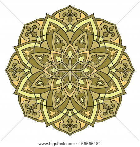 Ethnic green and yellow mandala. Template for carpet textile blanket cushion shawl. Vector oriental pattern.