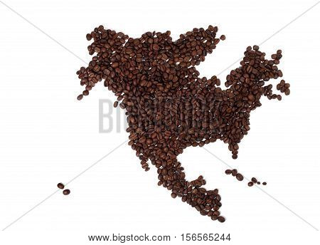 Map of North America Made of Coffee Beans