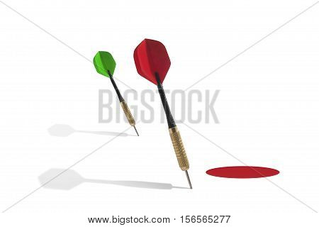Still Life of Two Darts Missing Red Target on White Background
