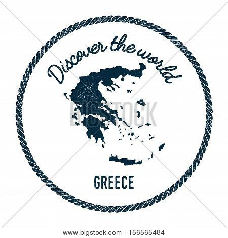 Vintage Discover The World Rubber Stamp With Greece Map. Hipster Style Nautical Postage Stamp, With
