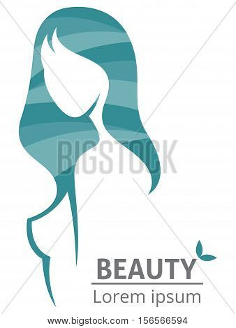 Vector silhouette of a beautiful woman template logo or an abstract concept for beauty salons spa cosmetics health Centers fashion and beauty industry
