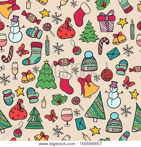 Vector illustration seamless pattern Set hand-drawing Doodle merry christmas elements happy new year holiday celebration Christmas ball knitted clothes sweet bell snowman Christmas tree gift xmas