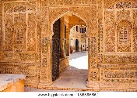 Architectural detail of the Mandir Palace Jaisalmer Rajasthan India.