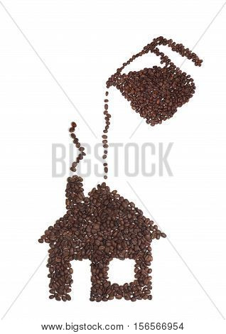 Still Life of a Coffee House and Pot Made of Coffee Beans on White Background