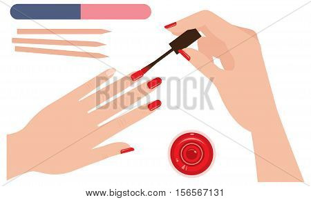 Female hands coloring nails manicure polish Stock vector illustration
