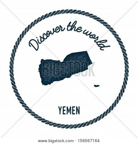 Vintage Discover The World Rubber Stamp With Yemen Map. Hipster Style Nautical Postage Stamp, With R