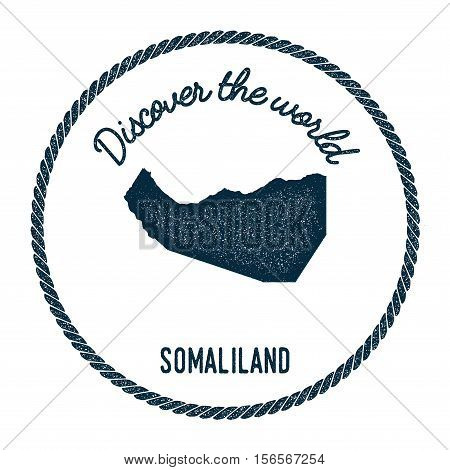 Vintage Discover The World Rubber Stamp With Somaliland Map. Hipster Style Nautical Postage Stamp, W