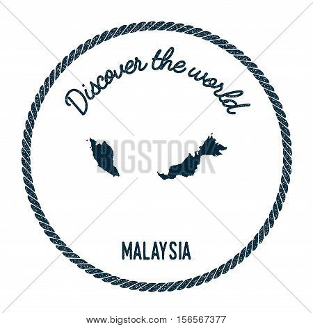 Vintage Discover The World Rubber Stamp With Malaysia Map. Hipster Style Nautical Postage Stamp, Wit