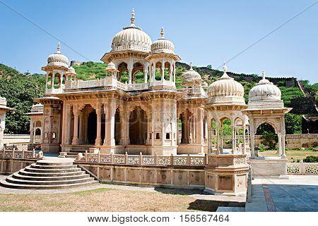 Memorial grounds to Maharaja Sawai Mansingh II and family constructed of marble. Gatore Ki Chhatriyan Jaipur Rajasthan India.
