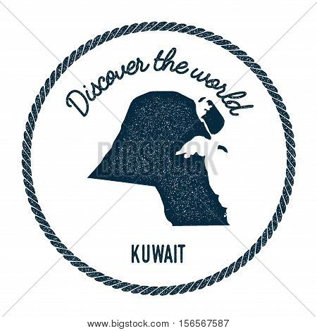 Vintage Discover The World Rubber Stamp With Kuwait Map. Hipster Style Nautical Postage Stamp, With