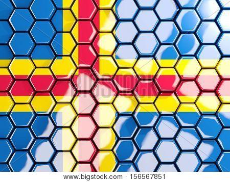 Flag Of Aland Islands, Hexagon Mosaic Background