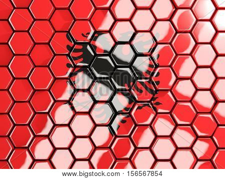 Flag Of Albania, Hexagon Mosaic Background