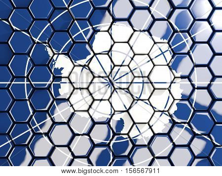 Flag Of Antarctica, Hexagon Mosaic Background