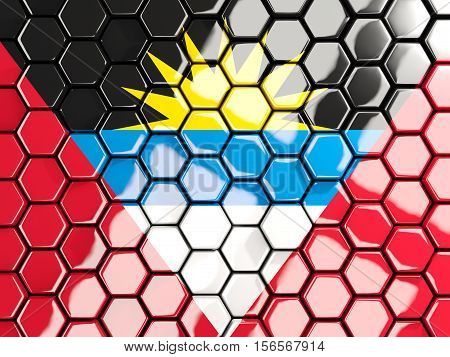 Flag Of Antigua And Barbuda, Hexagon Mosaic Background