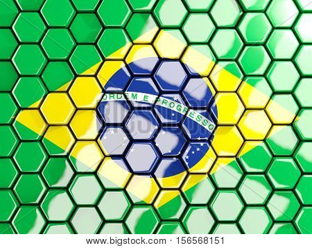 Flag Of Brazil, Hexagon Mosaic Background