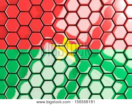 Flag Of Burkina Faso, Hexagon Mosaic Background