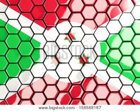Flag Of Burundi, Hexagon Mosaic Background