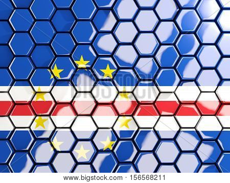 Flag Of Cape Verde, Hexagon Mosaic Background
