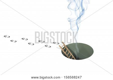 Still Life of Smoke Coming from a Hole with a Set of Footsteps of a Person Walking Away