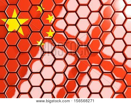 Flag Of China, Hexagon Mosaic Background