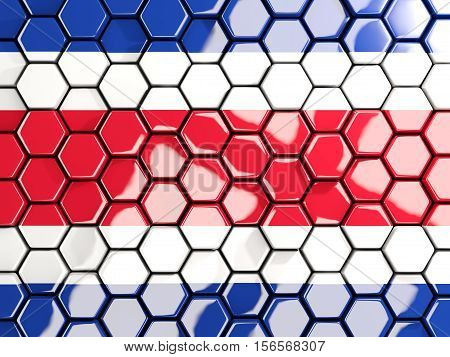 Flag Of Costa Rica, Hexagon Mosaic Background
