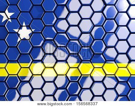 Flag Of Curacao, Hexagon Mosaic Background