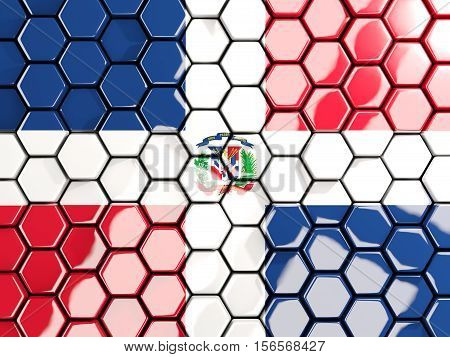 Flag Of Dominican Republic, Hexagon Mosaic Background