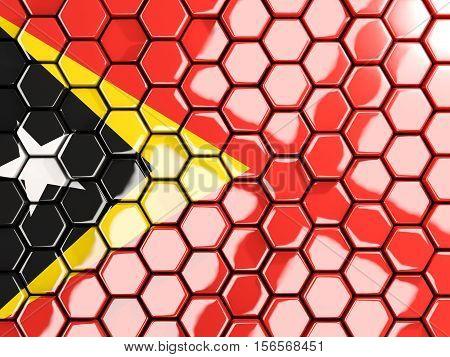 Flag Of East Timor, Hexagon Mosaic Background