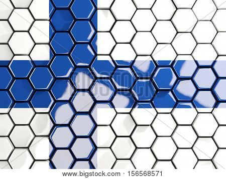 Flag Of Finland, Hexagon Mosaic Background