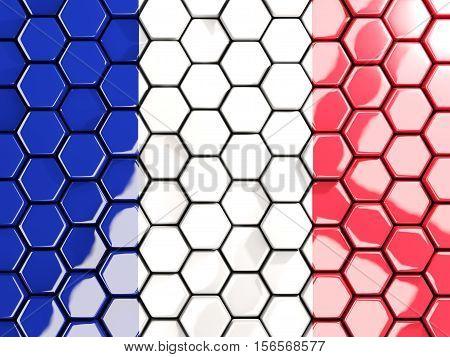 Flag Of France, Hexagon Mosaic Background