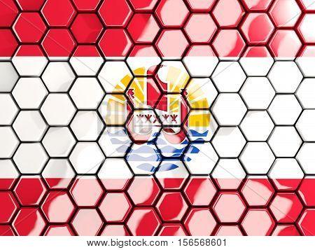 Flag Of French Polynesia, Hexagon Mosaic Background