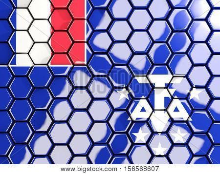 Flag Of French Southern Territories, Hexagon Mosaic Background