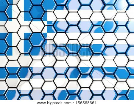 Flag Of Greece, Hexagon Mosaic Background