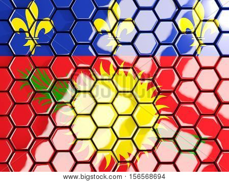 Flag Of Guadeloupe, Hexagon Mosaic Background