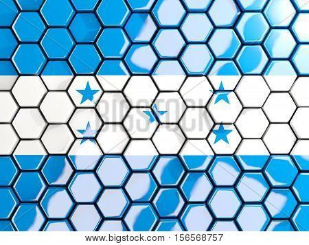 Flag Of Honduras, Hexagon Mosaic Background