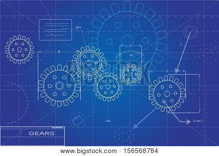 Blueprint gears illustration on a blue background