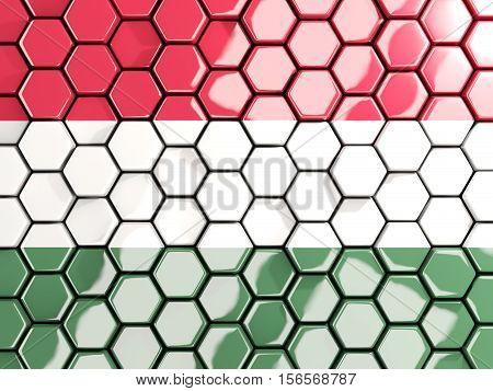 Flag Of Hungary, Hexagon Mosaic Background