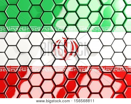 Flag Of Iran, Hexagon Mosaic Background