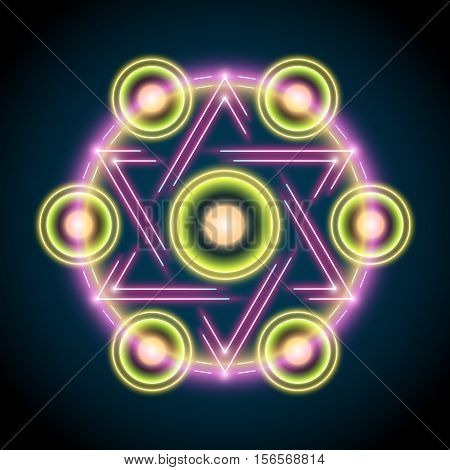 Sacred geometry abstract vector illustration. Symbol of alchemy, religion and spirituality.