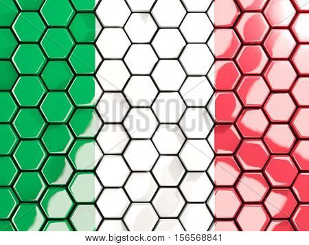 Flag Of Italy, Hexagon Mosaic Background