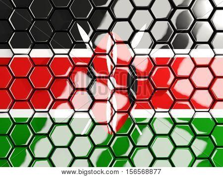 Flag Of Kenya, Hexagon Mosaic Background
