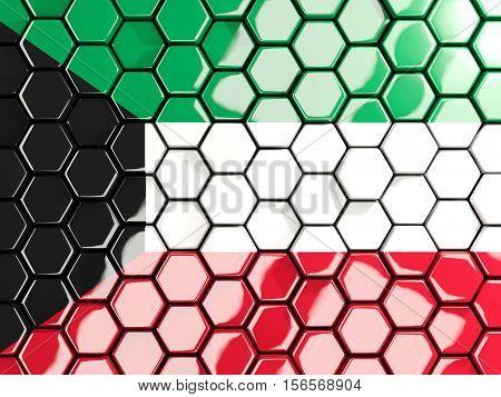 Flag Of Kuwait, Hexagon Mosaic Background