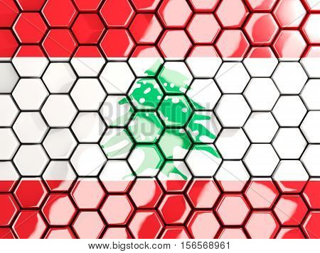 Flag Of Lebanon, Hexagon Mosaic Background