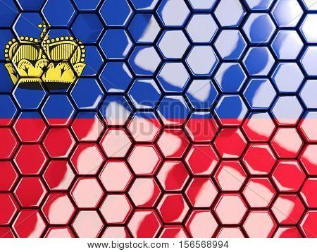 Flag Of Liechtenstein, Hexagon Mosaic Background