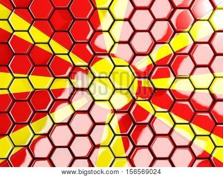 Flag Of Macedonia, Hexagon Mosaic Background