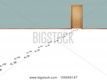 Still life of a Set of Footprints From a Person Leading to a Door