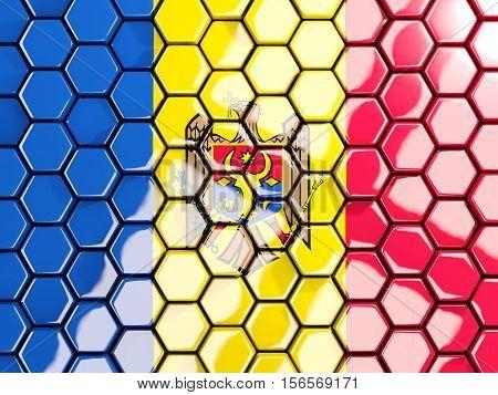Flag Of Moldova, Hexagon Mosaic Background