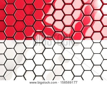Flag Of Monaco, Hexagon Mosaic Background